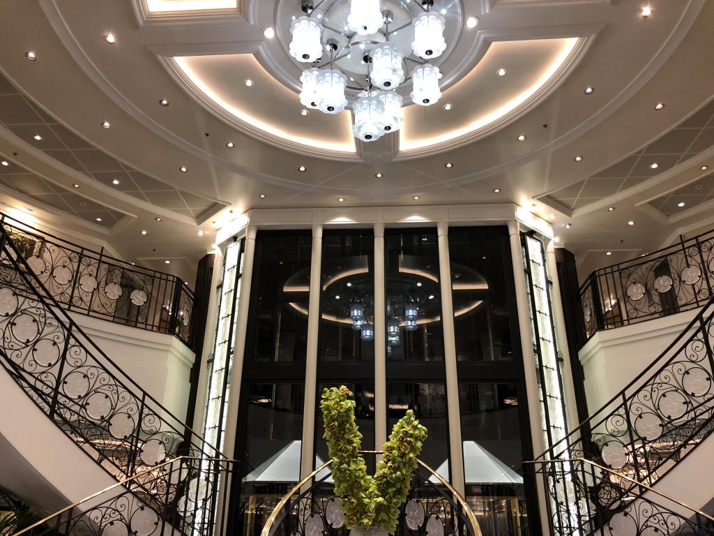 Lalique Crystal Chandelier and Staircase in the atrium of Oceania Marina