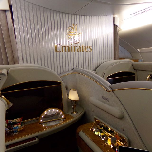 Emirates First Class A380 Flavia Gray Luxury
