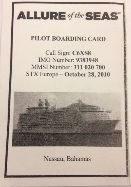 Allure of the Seas Pilot Boarding Card
