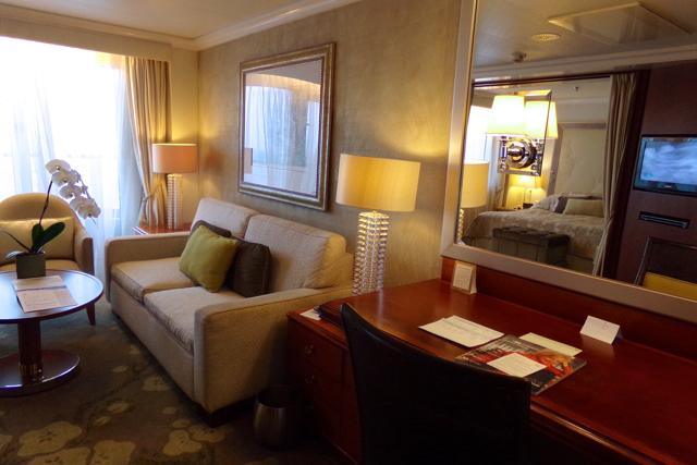 Penthouse Suite lounge area onboard Crystal Symphony