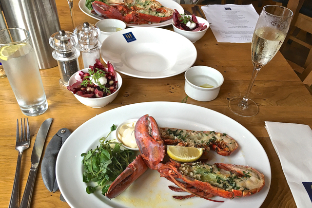 ships and champagne loch fyne lobster main course