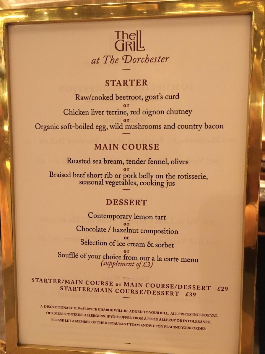 Dorchester Grill Room Menu