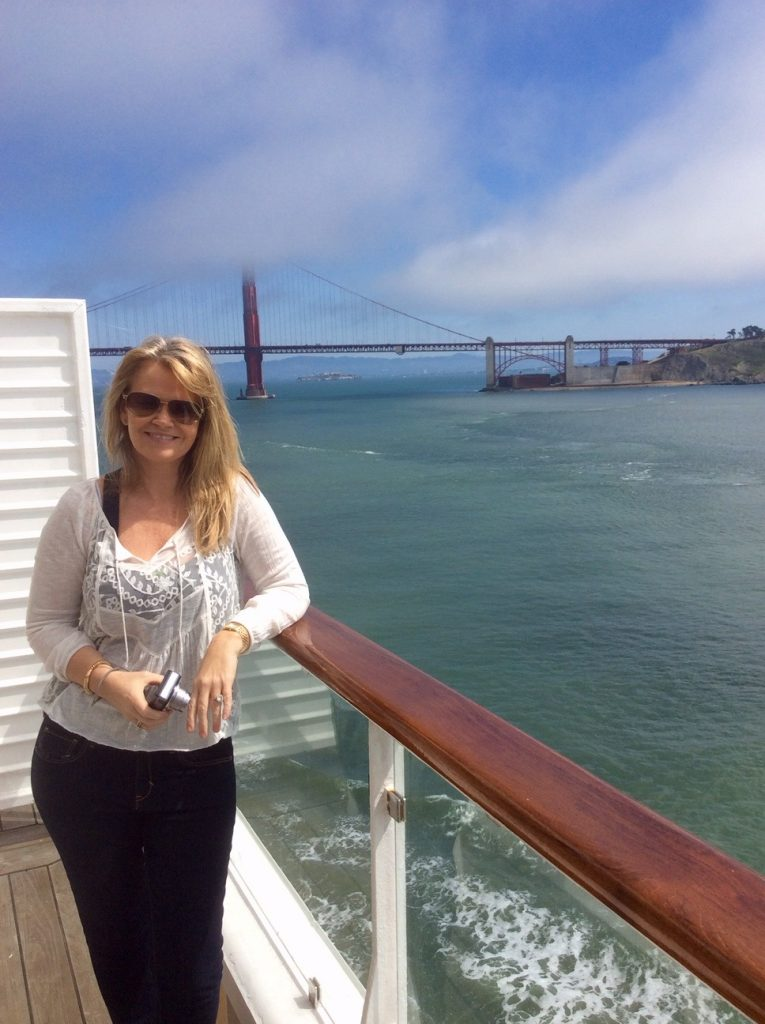 Golden Gate Bridge view from balcony onboard Celebrity Century.