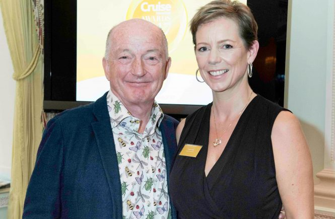 Oz Clarke and Flavia Gray at the ritz hotel london