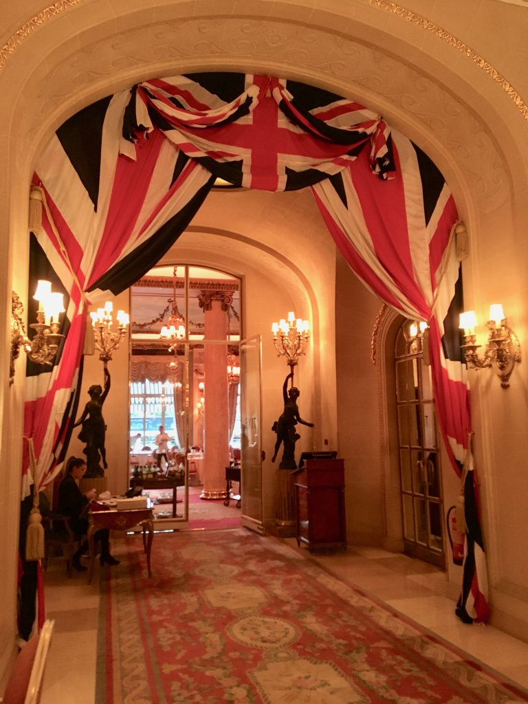 Union Jack Flag hangs in the hallway at the Ritz