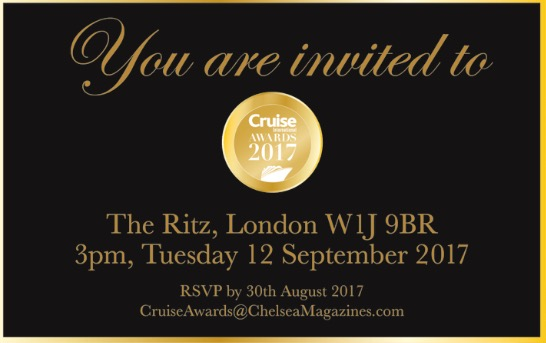 Invitation for Cruise International Awards 2017 at the Ritz