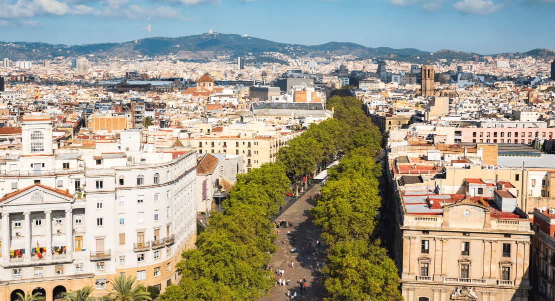 Aerial View of Las Ramblas - Barcelona