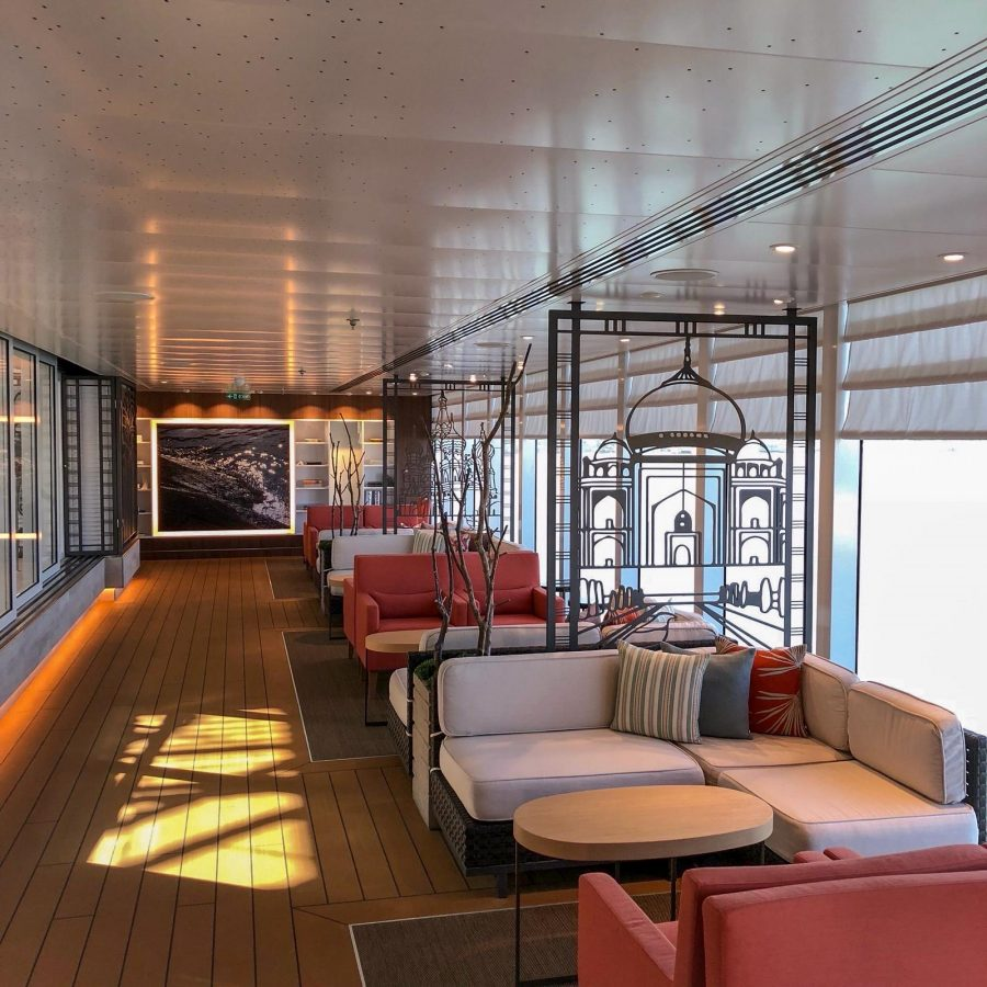 Deck seating area on Viking Sea