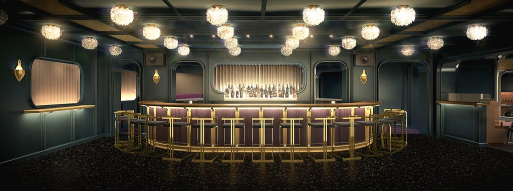 Image Credit: Virgin Voyages - The Manor - nightclub designed by Roman and Williams