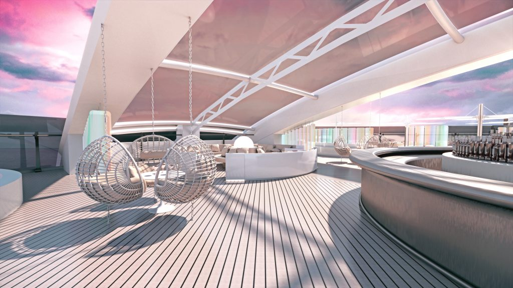 Richard's Rooftop VIP Lounge area on Virgin Voyages first cruise ship