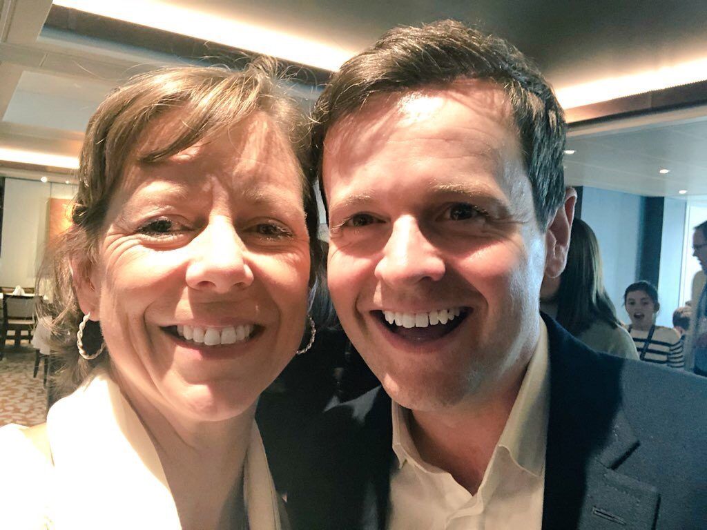 Flavia Gray with Declan Donnelly onboard Britannia