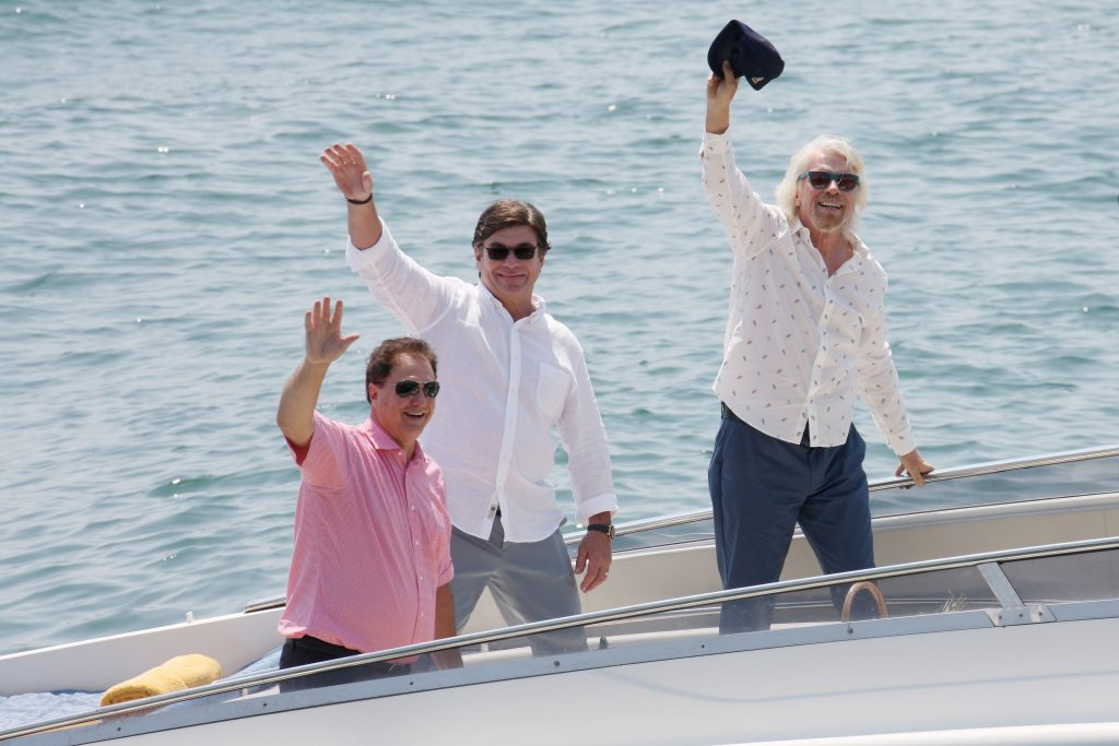 Photo by Vincenzo Lombardo/Getty Images for VIRGIN VOYAGES - Sir Richard Branson, Tom McAlpin and Stephen Pagliuca.