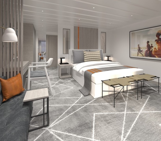 CELEBRITY CRUISES - Kelly Hoppen, MBE adds her signature style to the Sky Suite.