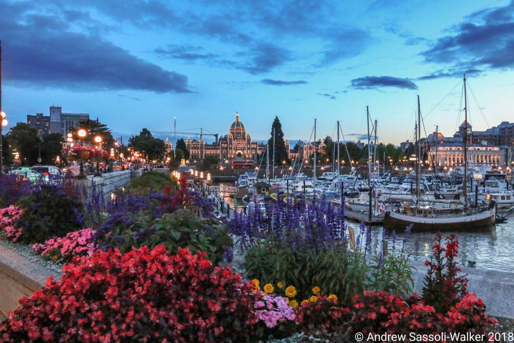 Photo Credit: Andrew Sassoli-Walker - Inner Harbour with Canadian Parliament Building at dusk. Victoria, Canada