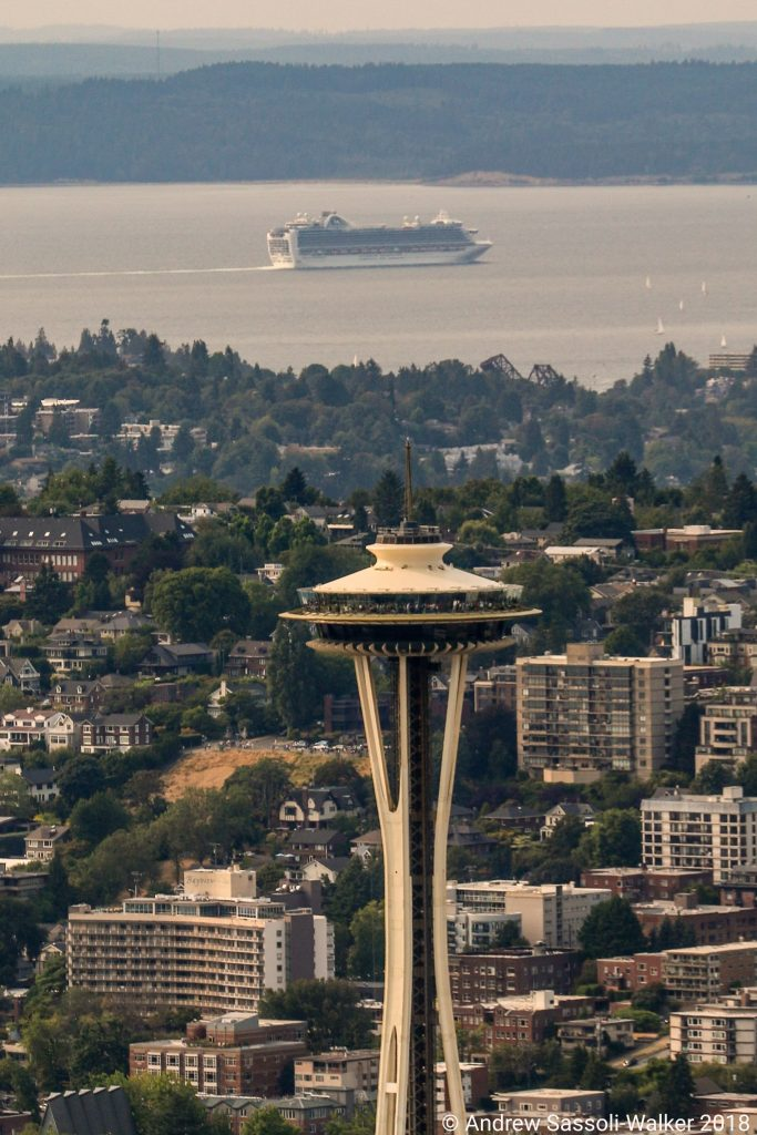 Photo Credit: Andrew Sassoli-Walker - View of the Space Needle and Emerald Princess in Seattle