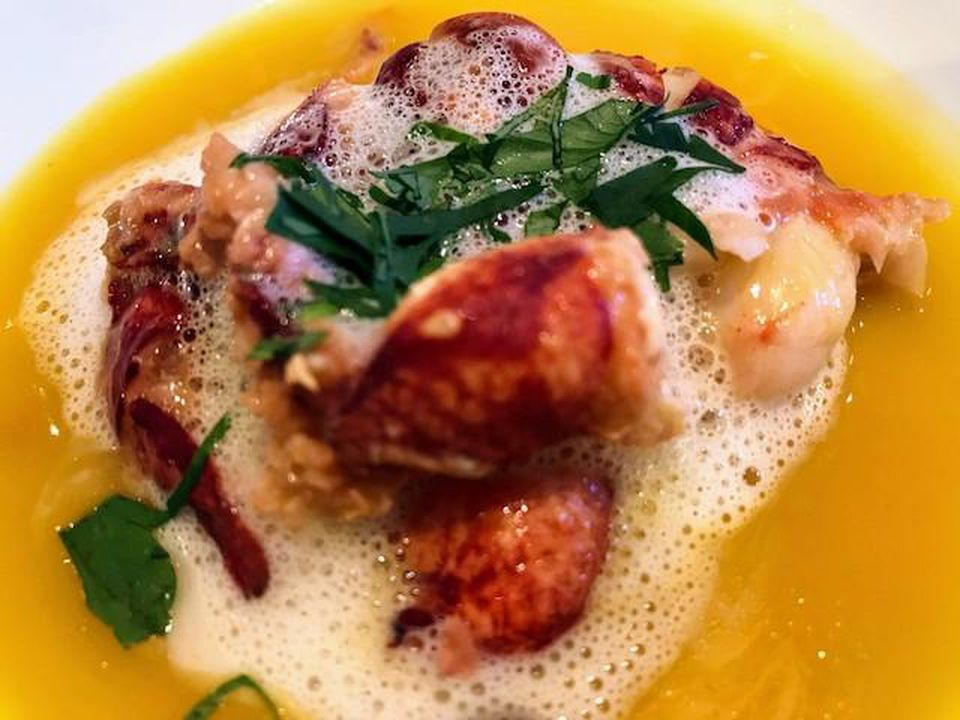 Brittany blue lobster in yellow curry broth