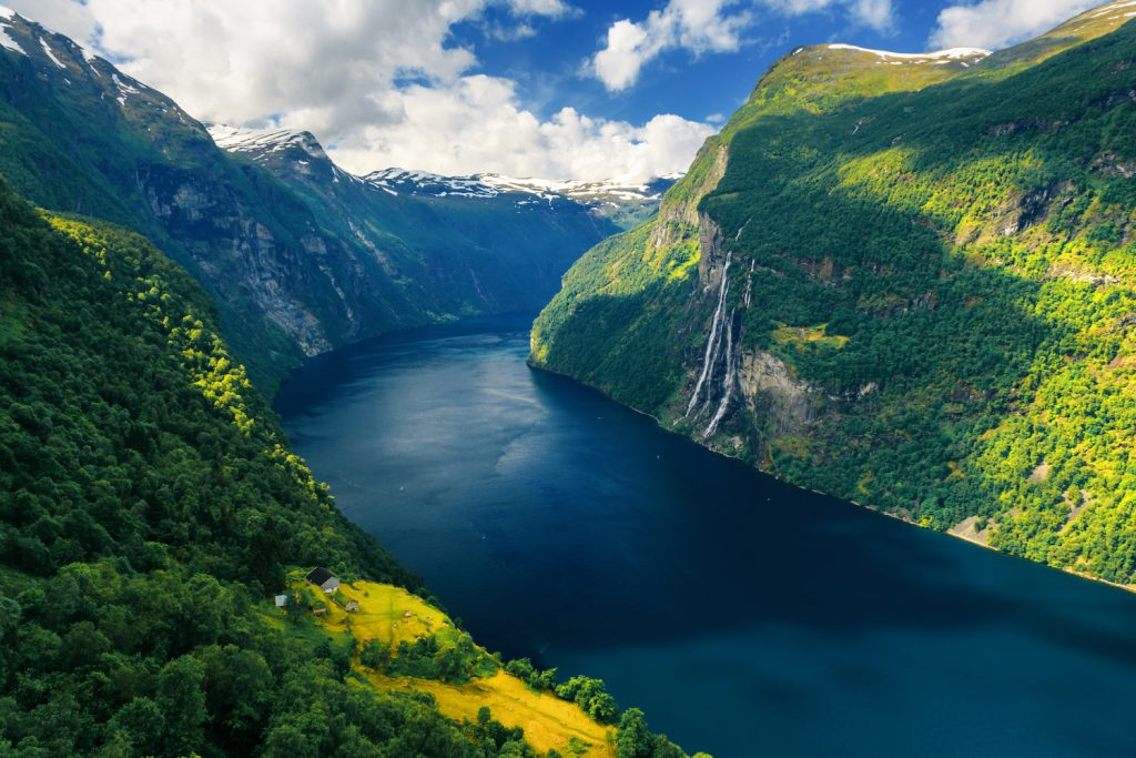 Seven Sisters waterfalls, near Geiranger village in western Norway.