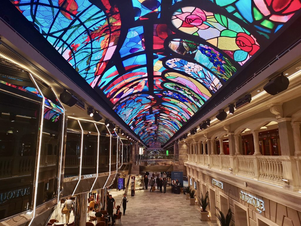 The Galleria ceiling onboard MSC Bellissima