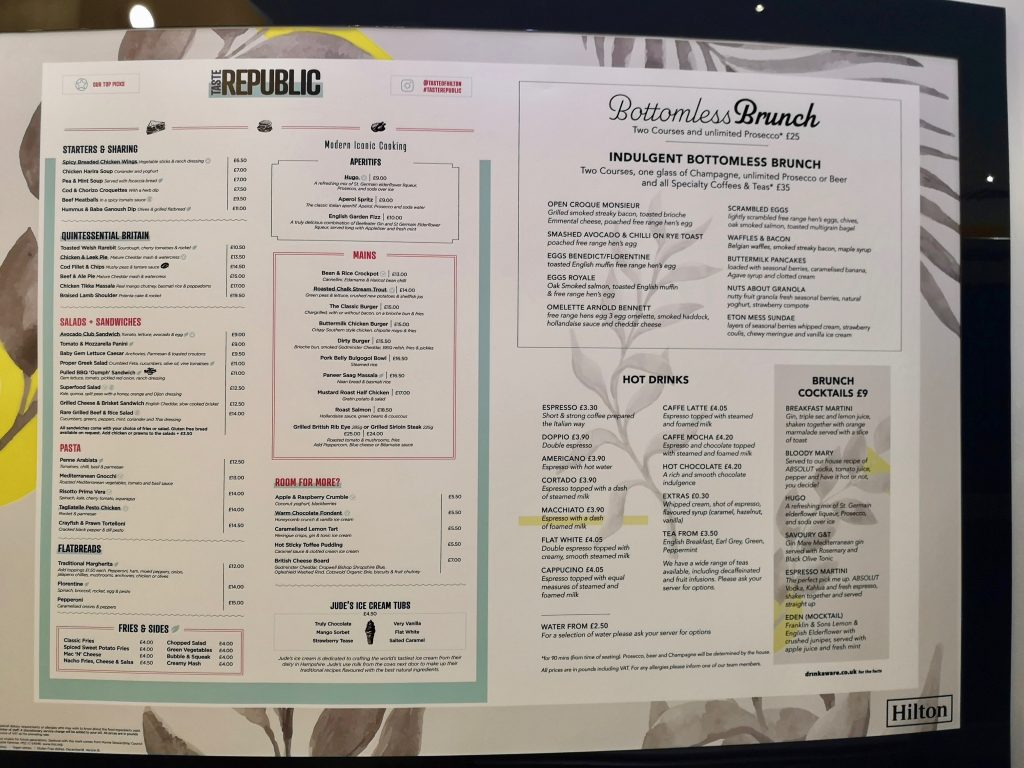 Hilton Hotel Nottingham Restaurant Menu and Prices