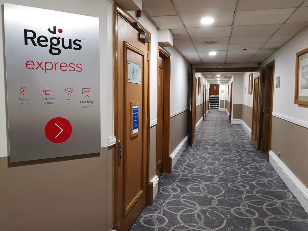 Sign for the Regus Express lounge at the Hilton Hotel Nottingham