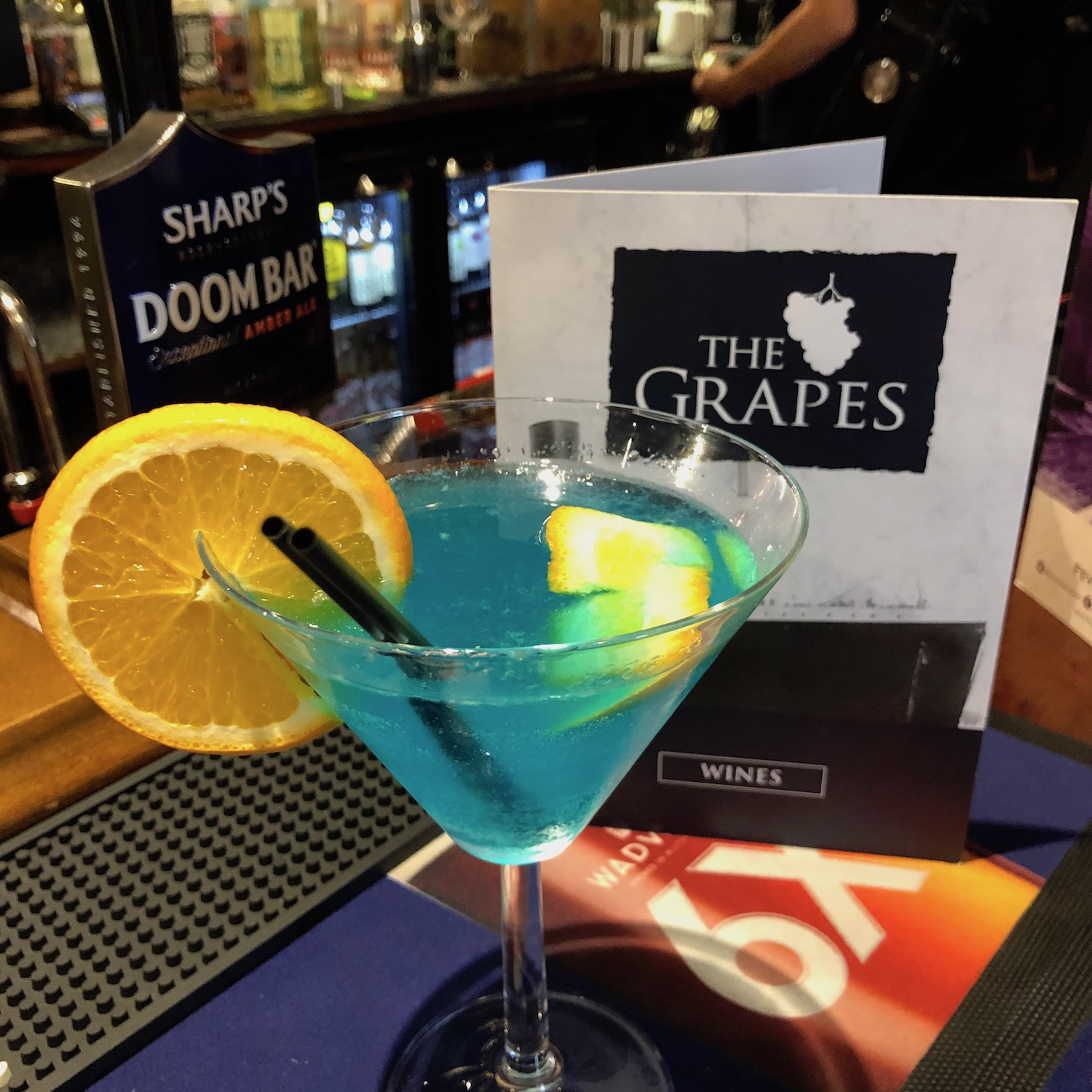The Sapphire Princess cocktail at The Grapes pub Southampton