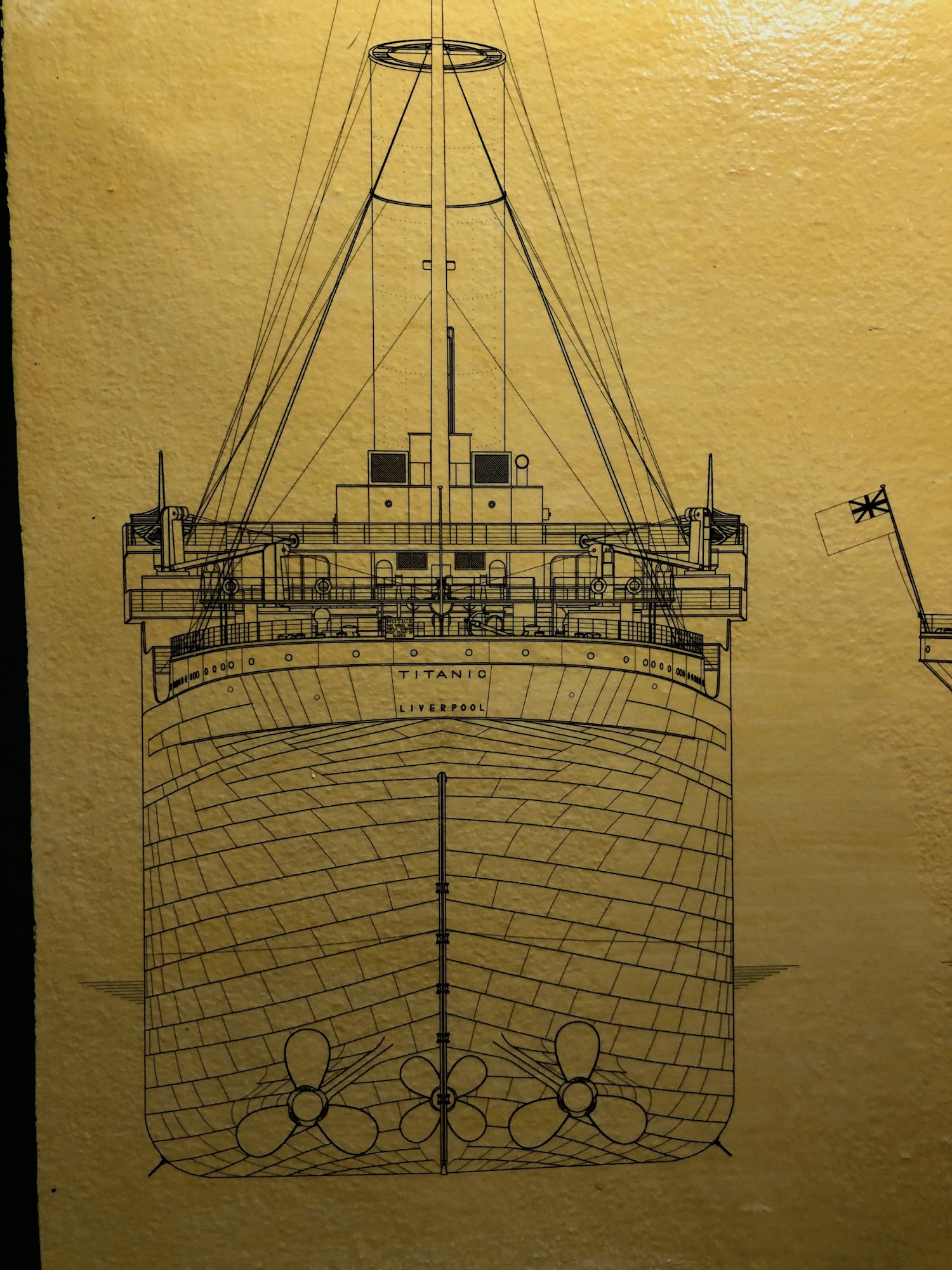 Blueprint of RMS Titanic at The Grapes Southampton