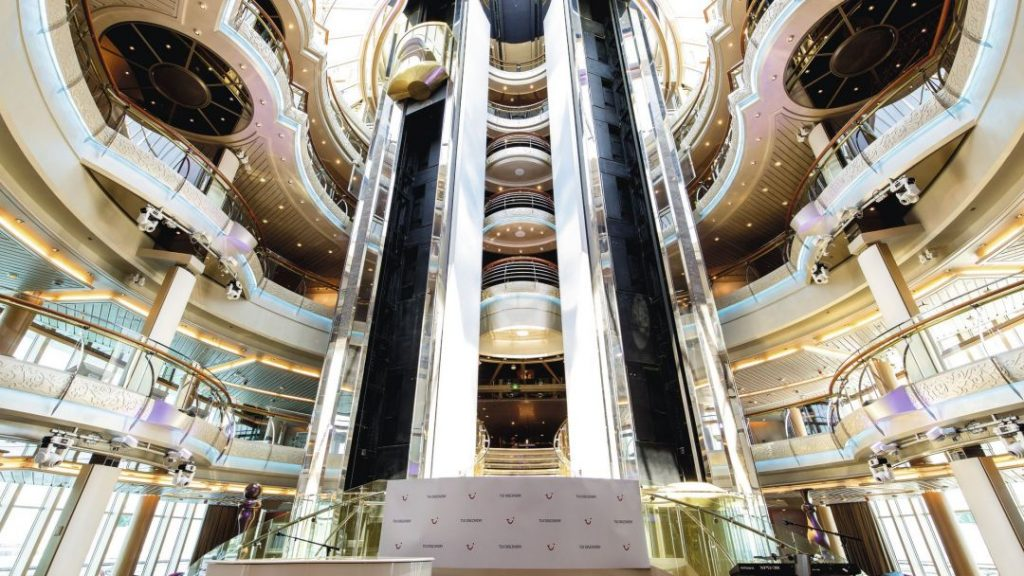 The grand atrium onboard Marella Discovery