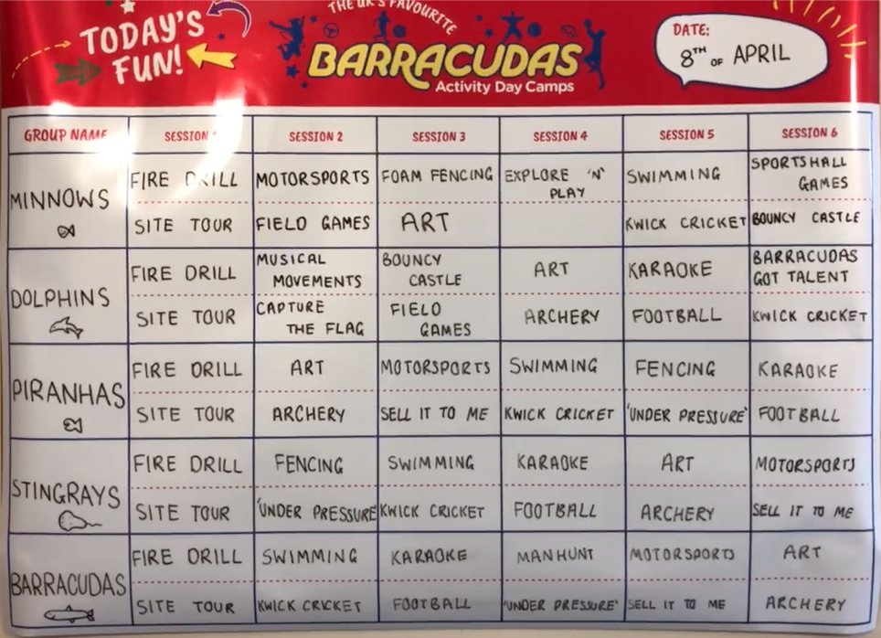 Barracudas Activity Day Camps Example Timetable