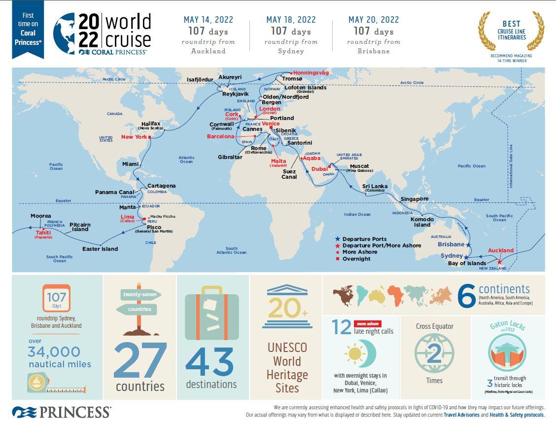 107 Day World Cruise from Australia 2022
